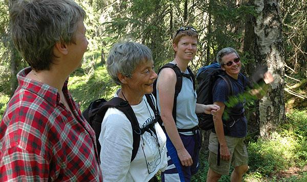 Hanne, Ragnhild, Siri og Turid vifter bort insekter