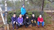 Gapahukbyggegjengen: Mari, Kjersti, Jorun J., Rine, Ann Helen og Jorun B.