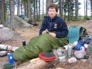 Anette i frokostposen (foto Rine G Carlsen).